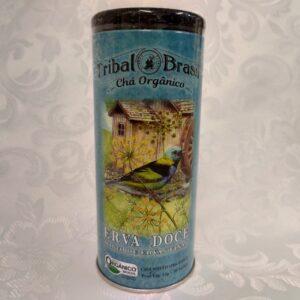 Lata chá orgânico erva doce Tribal Brasil Pólen sem glúten Porto Alegre
