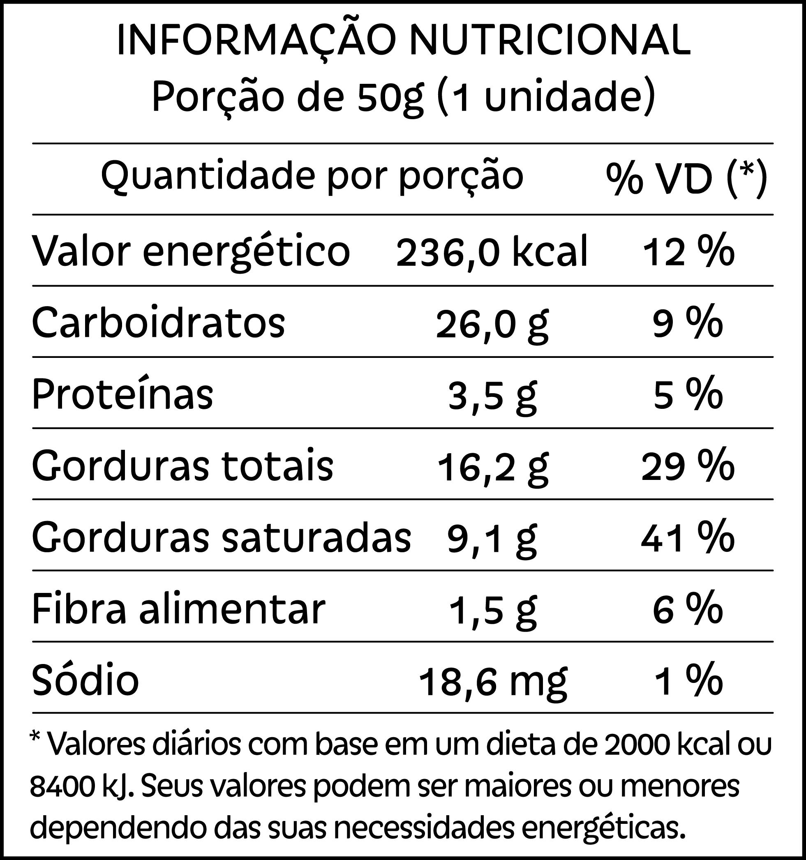 Tabela nutricional do Brownie de chocolate 70% com coco