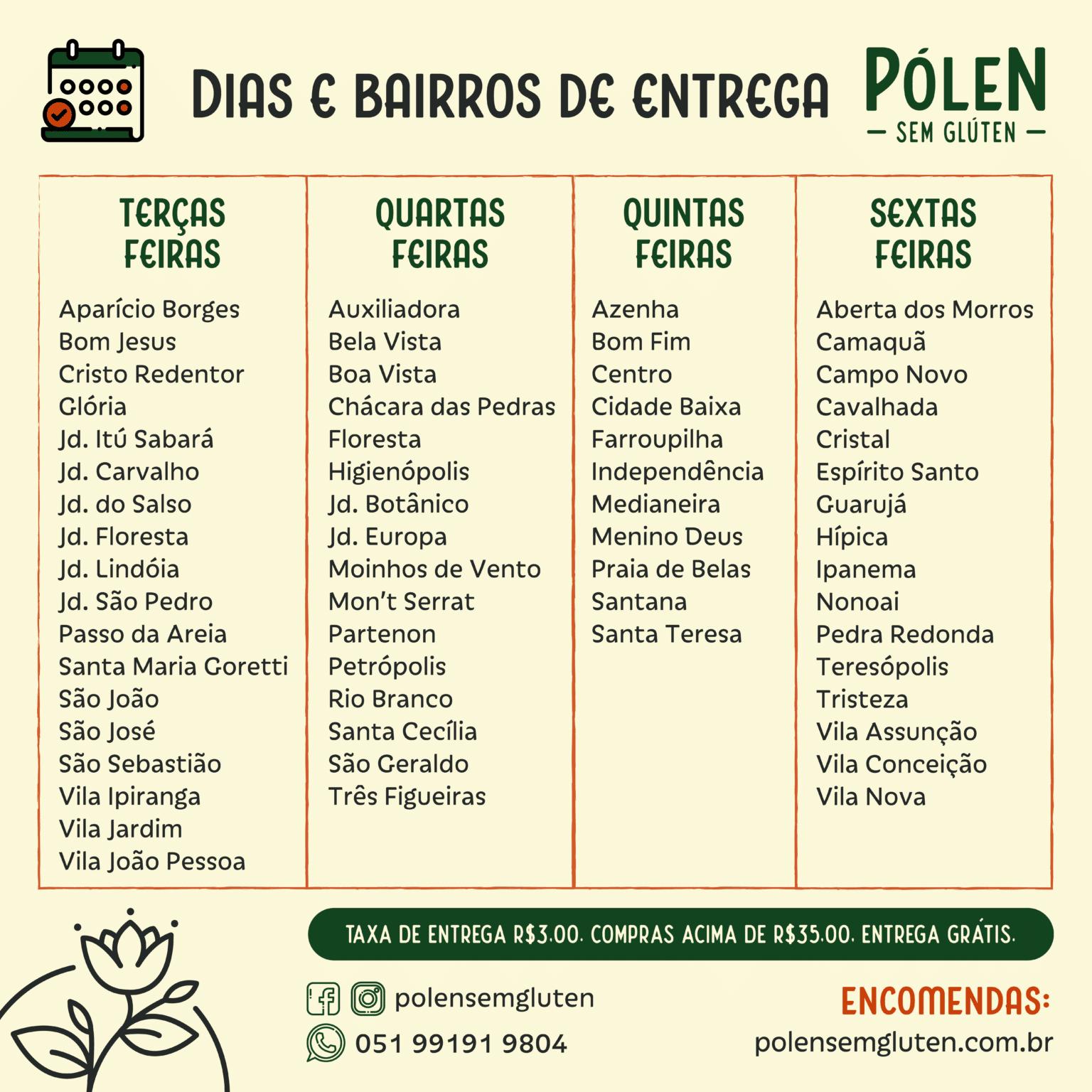 Dias e bairros de entrega Pólen sem glúten Porto Alegre