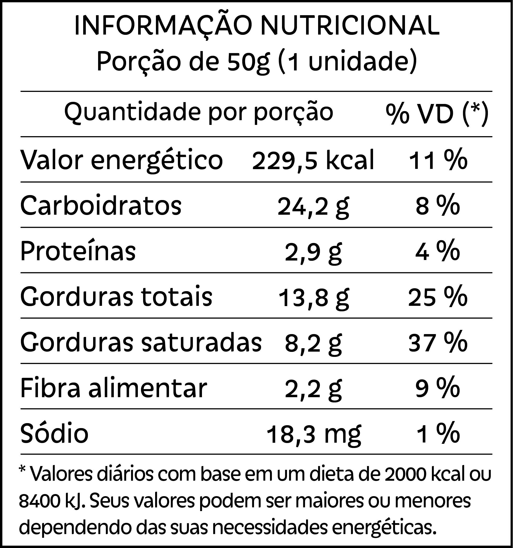 Tabela nutricional do Brownie de chocolate 72% cereja Pólen sem glúten