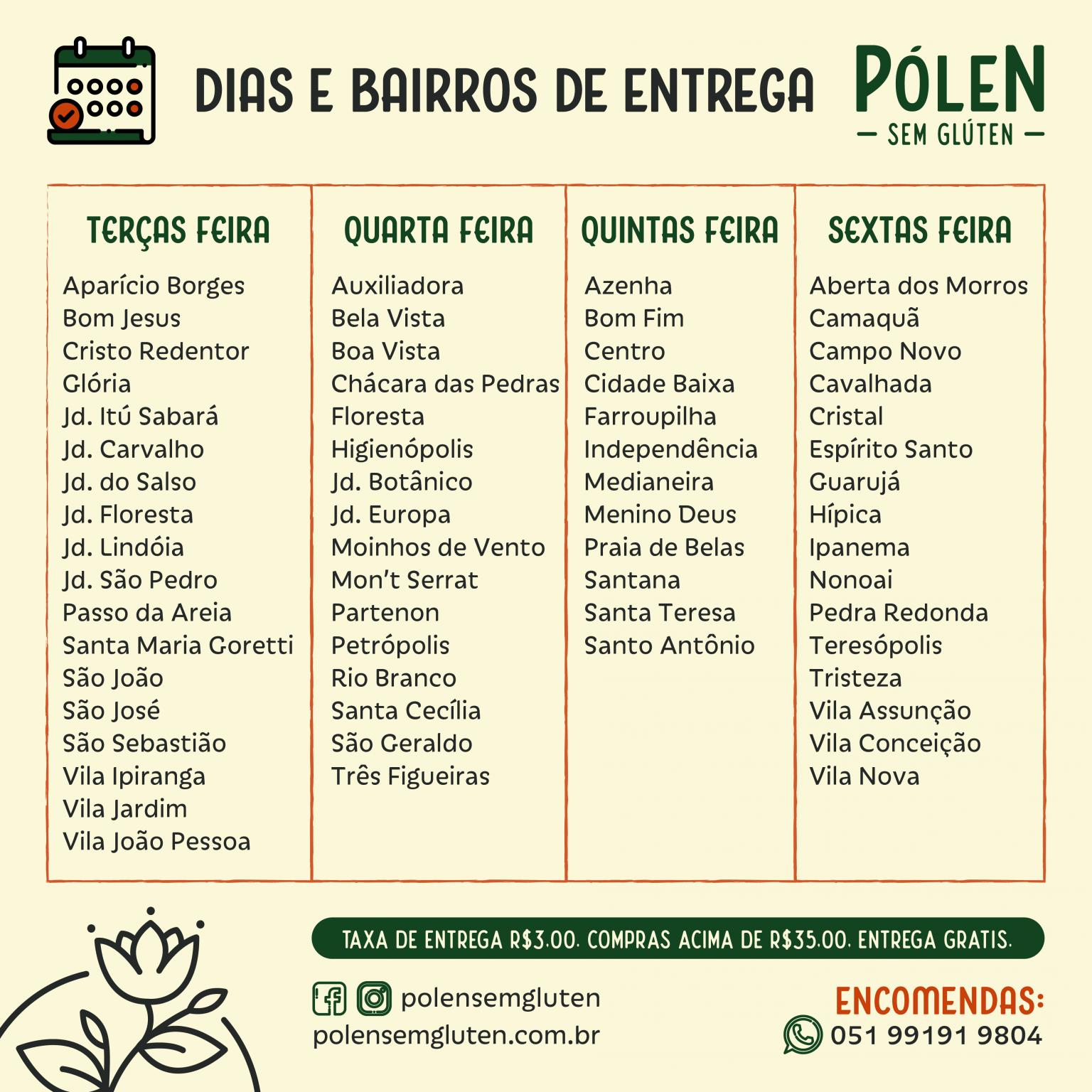 Dias de entrega Pólen sem glúten Porto Alegre